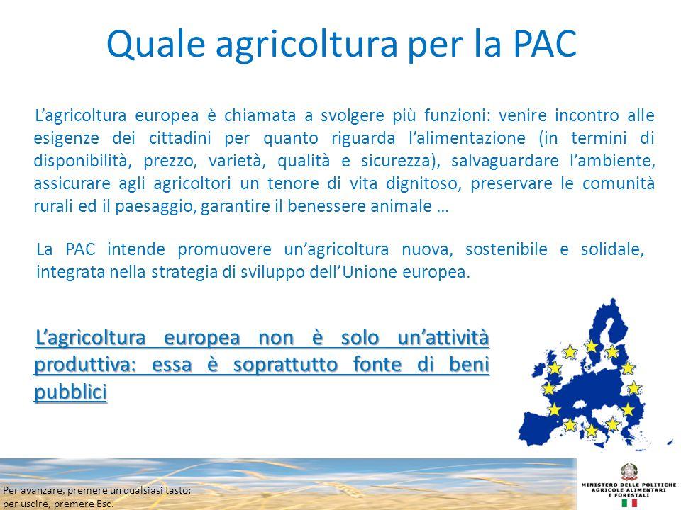 Per avanzare, premere un qualsiasi tasto; per uscire, premere Esc. Quale agricoltura per la PAC L'agricoltura europea è chiamata a svolgere più funzio