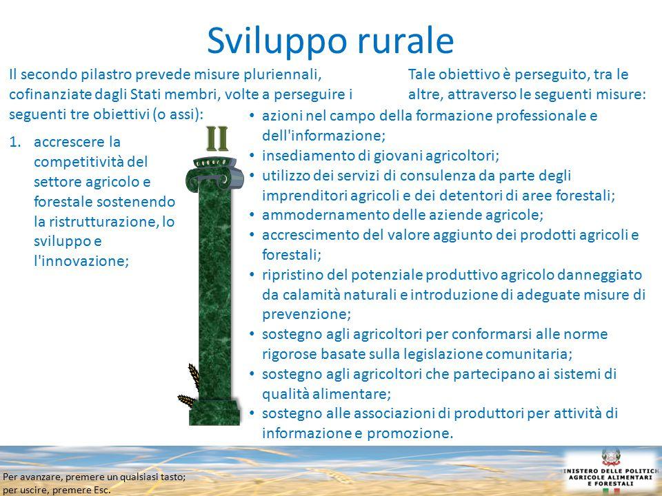 Per avanzare, premere un qualsiasi tasto; per uscire, premere Esc. Sviluppo rurale Il secondo pilastro prevede misure pluriennali, cofinanziate dagli