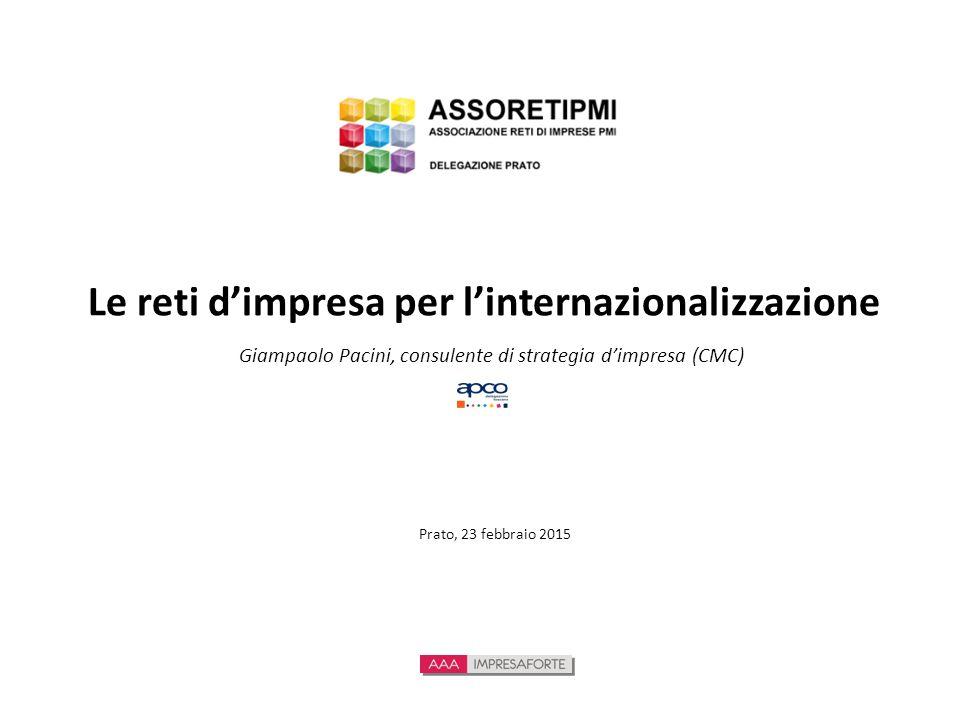 Le reti d'impresa per l'internazionalizzazione Giampaolo Pacini, consulente di strategia d'impresa (CMC) Prato, 23 febbraio 2015