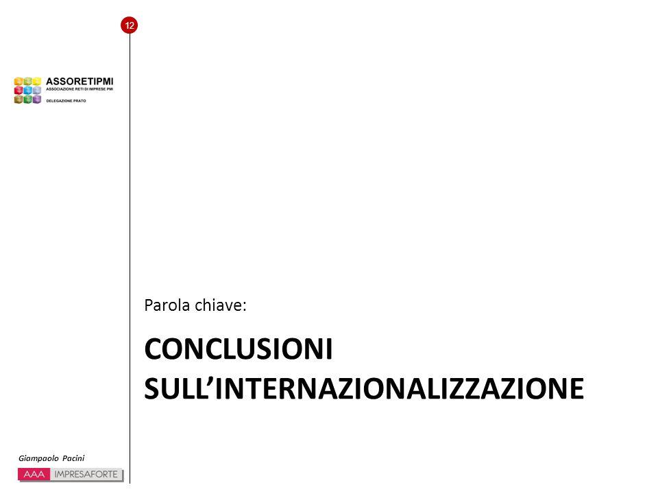12 Giampaolo Pacini CONCLUSIONI SULL'INTERNAZIONALIZZAZIONE Parola chiave: