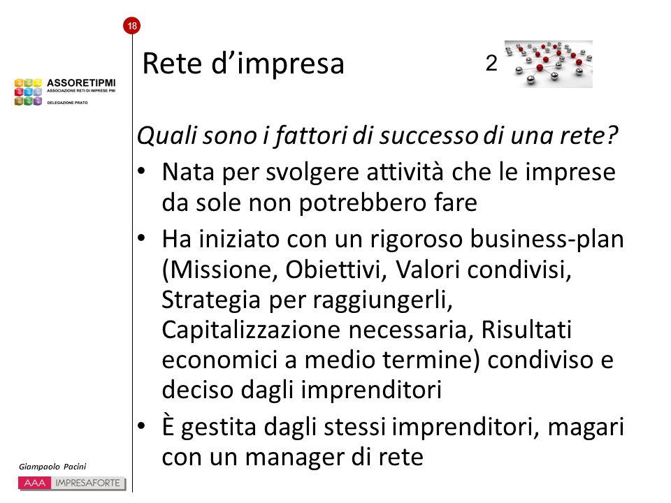 18 Giampaolo Pacini Rete d'impresa Quali sono i fattori di successo di una rete.
