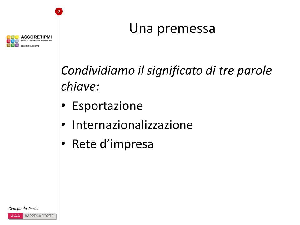 2 Giampaolo Pacini Una premessa Condividiamo il significato di tre parole chiave: Esportazione Internazionalizzazione Rete d'impresa