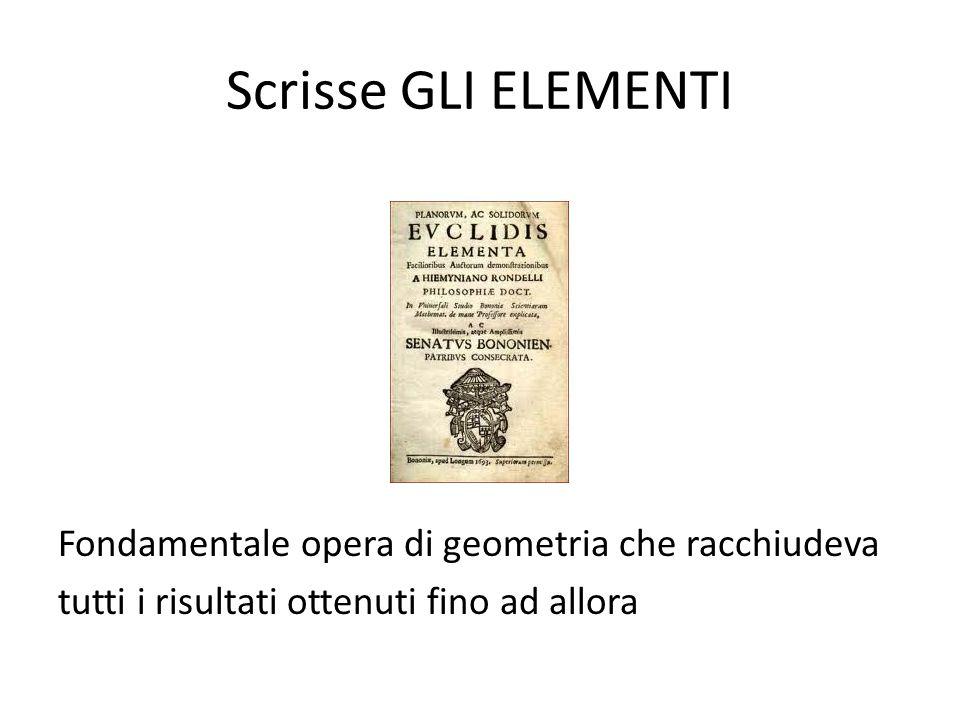 Scrisse GLI ELEMENTI Fondamentale opera di geometria che racchiudeva tutti i risultati ottenuti fino ad allora