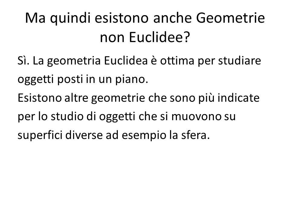 Ma quindi esistono anche Geometrie non Euclidee? Sì. La geometria Euclidea è ottima per studiare oggetti posti in un piano. Esistono altre geometrie c
