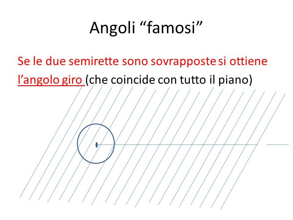 """Angoli """"famosi"""" Se le due semirette sono sovrapposte si ottiene l'angolo giro (che coincide con tutto il piano)"""