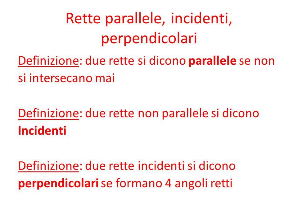 Rette parallele, incidenti, perpendicolari Definizione: due rette si dicono parallele se non si intersecano mai Definizione: due rette non parallele si dicono Incidenti Definizione: due rette incidenti si dicono perpendicolari se formano 4 angoli retti