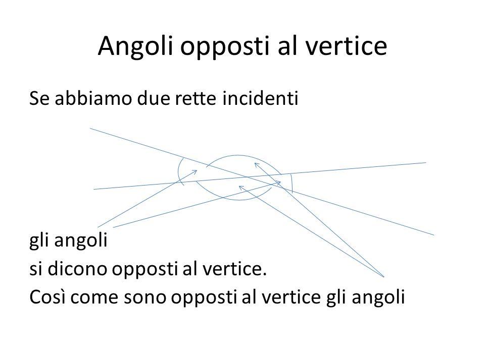 Angoli opposti al vertice Se abbiamo due rette incidenti gli angoli si dicono opposti al vertice. Così come sono opposti al vertice gli angoli