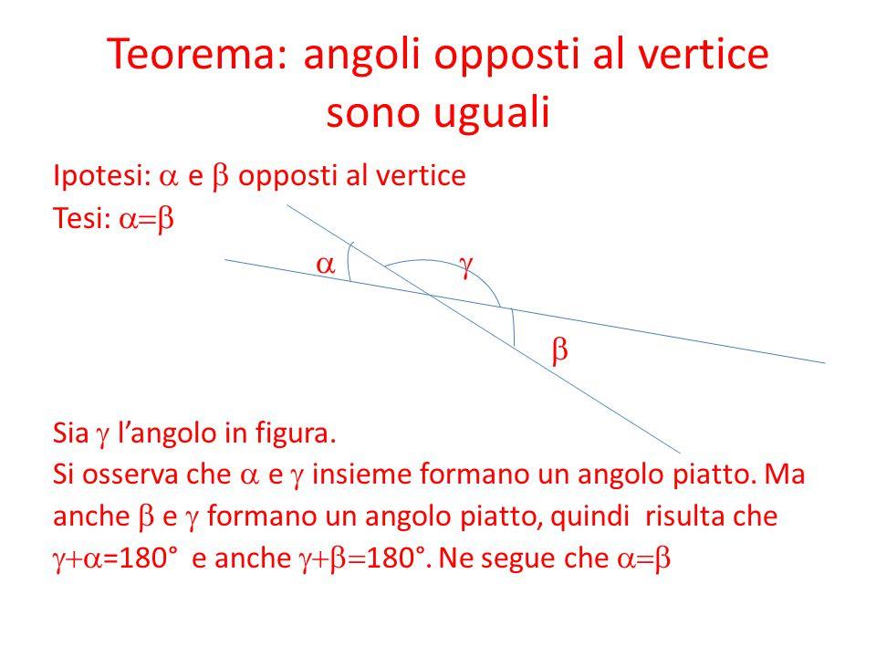 Teorema: angoli opposti al vertice sono uguali Ipotesi:  e  opposti al vertice Tesi:   