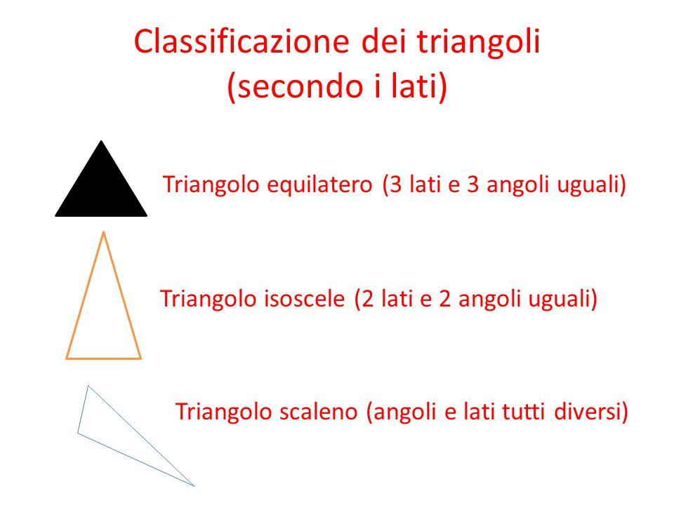 Classificazione dei triangoli (secondo i lati) Triangolo equilatero (3 lati e 3 angoli uguali) Triangolo isoscele (2 lati e 2 angoli uguali) Triangolo scaleno (angoli e lati tutti diversi)