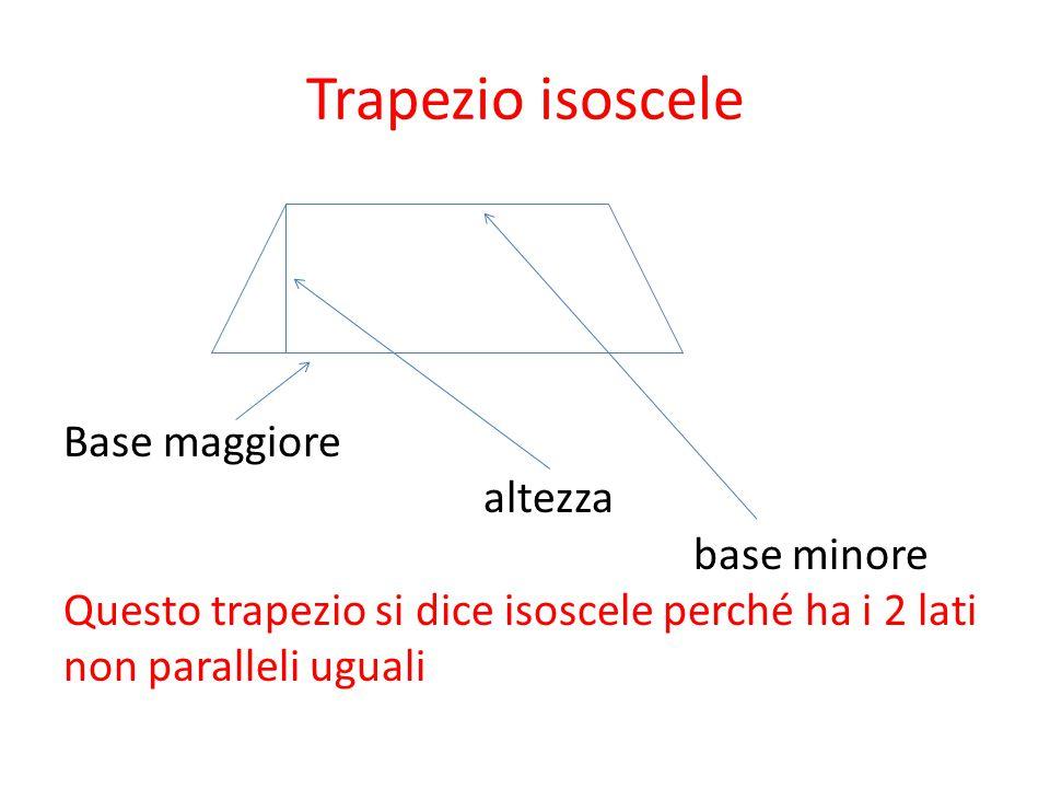 Trapezio isoscele Base maggiore altezza base minore Questo trapezio si dice isoscele perché ha i 2 lati non paralleli uguali