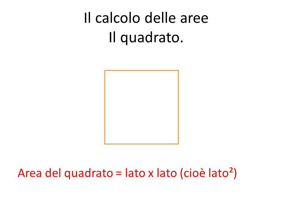 Il calcolo delle aree Il quadrato. Area del quadrato = lato x lato (cioè lato²)