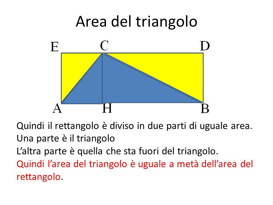 Area del triangolo Quindi il rettangolo è diviso in due parti di uguale area. Una parte è il triangolo L'altra parte è quella che sta fuori del triang