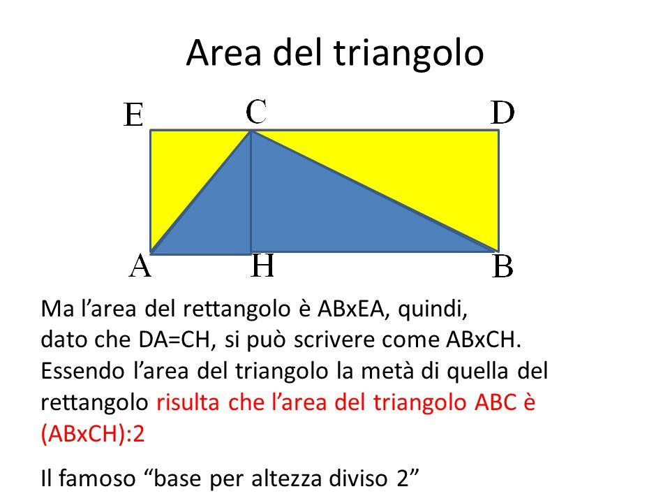 Area del triangolo Ma l'area del rettangolo è ABxEA, quindi, dato che DA=CH, si può scrivere come ABxCH. Essendo l'area del triangolo la metà di quell