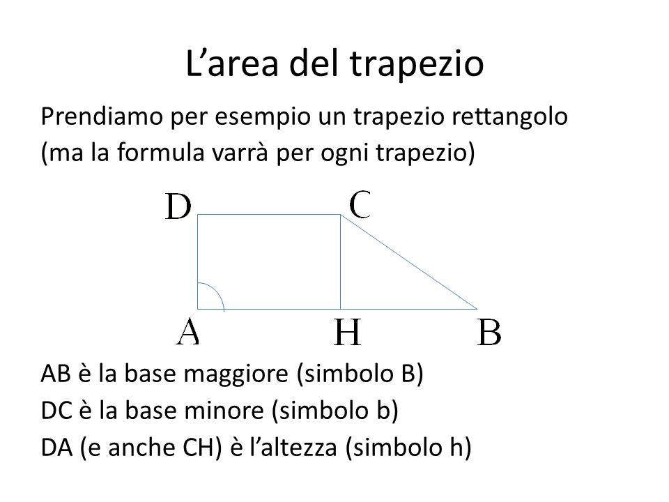 L'area del trapezio Prendiamo per esempio un trapezio rettangolo (ma la formula varrà per ogni trapezio) AB è la base maggiore (simbolo B) DC è la base minore (simbolo b) DA (e anche CH) è l'altezza (simbolo h)