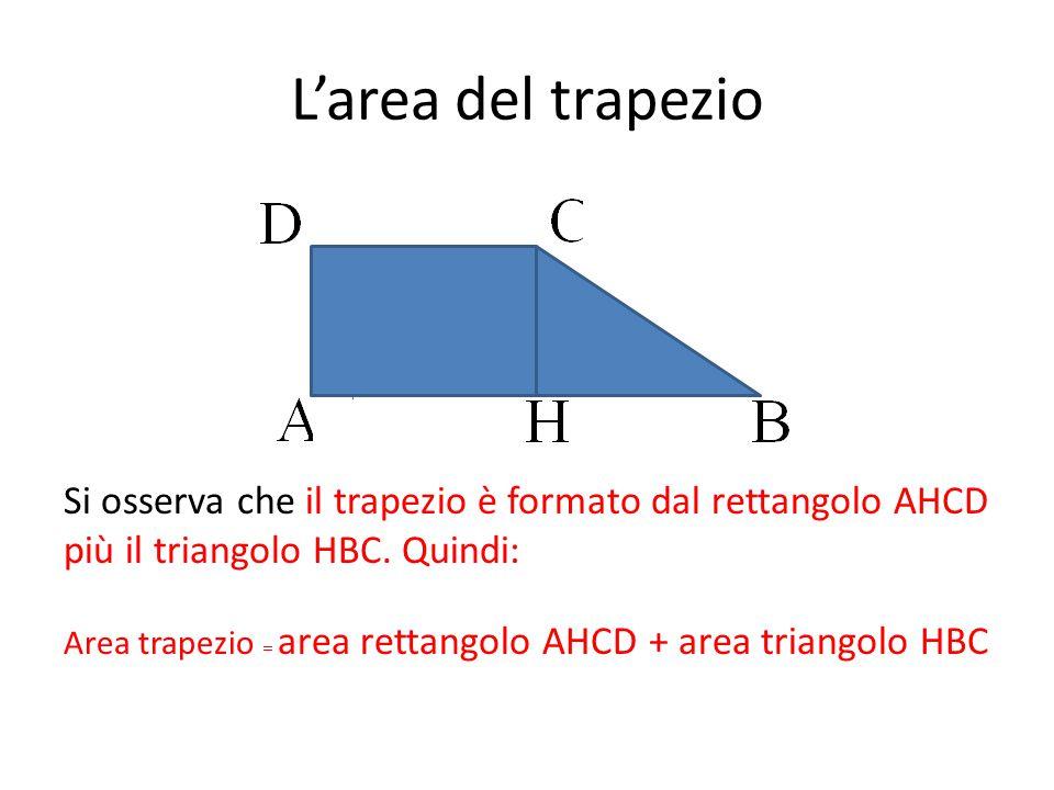 L'area del trapezio Si osserva che il trapezio è formato dal rettangolo AHCD più il triangolo HBC. Quindi: Area trapezio = area rettangolo AHCD + area