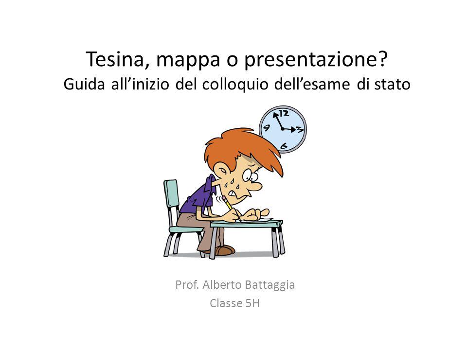 Tesina, mappa o presentazione? Guida all'inizio del colloquio dell'esame di stato Prof. Alberto Battaggia Classe 5H
