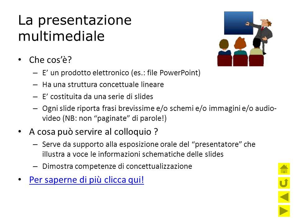 La presentazione multimediale Che cos'è? – E' un prodotto elettronico (es.: file PowerPoint) – Ha una struttura concettuale lineare – E' costituita da