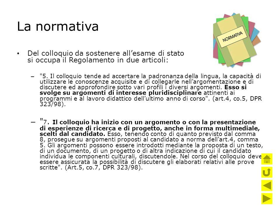 La normativa Del colloquio da sostenere all'esame di stato si occupa il Regolamento in due articoli: –