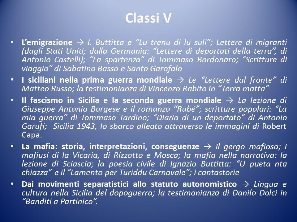 Classi V L'emigrazione → I.