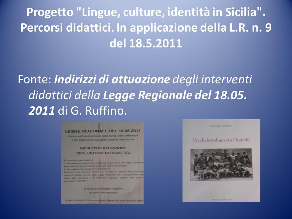 Progetto Lingue, culture, identità in Sicilia .Percorsi didattici.