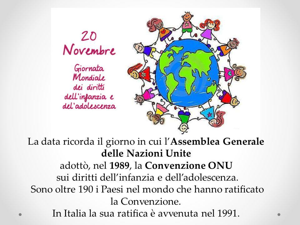 La data ricorda il giorno in cui l'Assemblea Generale delle Nazioni Unite adottò, nel 1989, la Convenzione ONU sui diritti dell'infanzia e dell'adoles