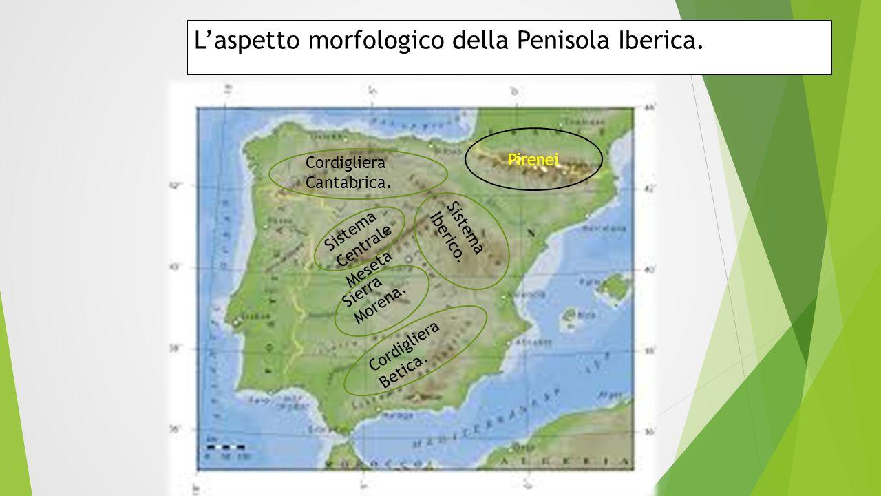 L'aspetto morfologico della Penisola Iberica. Cordigliera Cantabrica. Cordigliera Betica. Sistema Iberico. Sistema Centrale Sierra Morena. Pirenei Mes