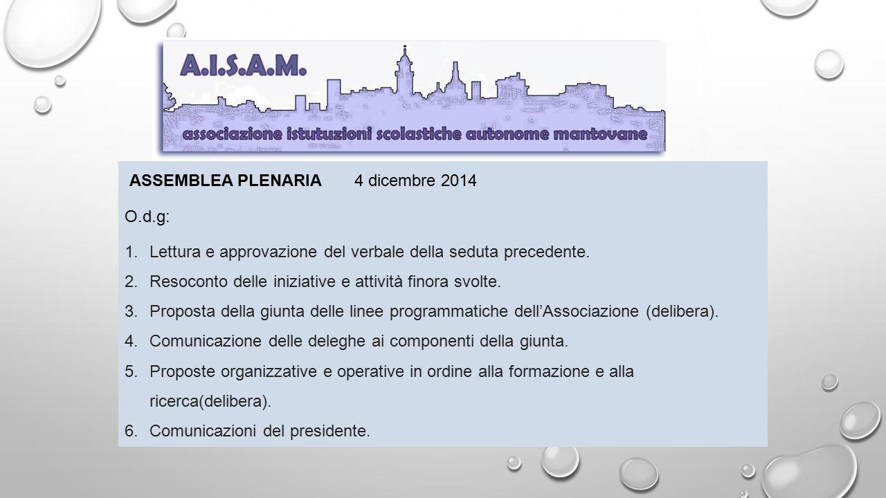 ASSEMBLEA PLENARIA 4 dicembre 2014 O.d.g: 1.Lettura e approvazione del verbale della seduta precedente. 2.Resoconto delle iniziative e attività finora