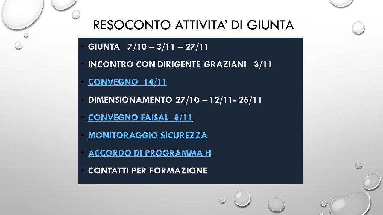 RESOCONTO ATTIVITA' DI GIUNTA GIUNTA 7/10 – 3/11 – 27/11 INCONTRO CON DIRIGENTE GRAZIANI 3/11 CONVEGNO 14/11 DIMENSIONAMENTO 27/10 – 12/11- 26/11 CONVEGNO FAISAL 8/11 MONITORAGGIO SICUREZZA ACCORDO DI PROGRAMMA H CONTATTI PER FORMAZIONE