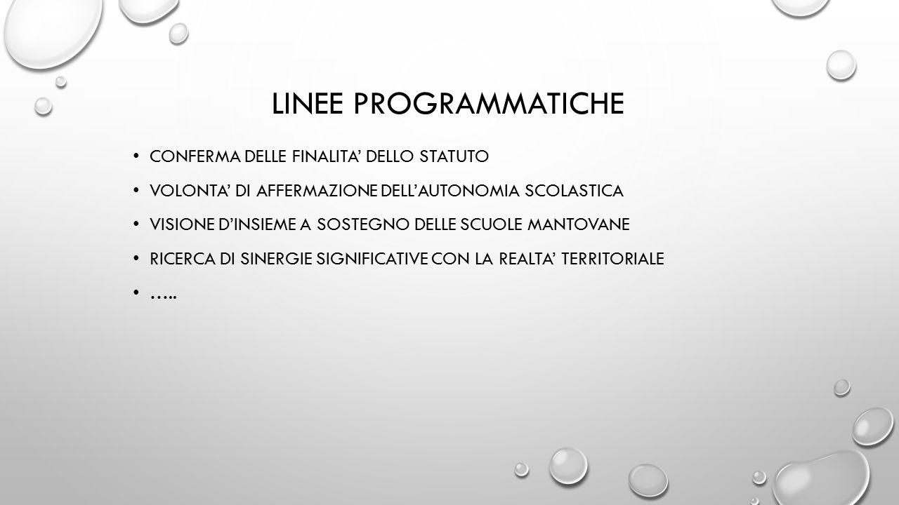 LINEE PROGRAMMATICHE CONFERMA DELLE FINALITA' DELLO STATUTO VOLONTA' DI AFFERMAZIONE DELL'AUTONOMIA SCOLASTICA VISIONE D'INSIEME A SOSTEGNO DELLE SCUOLE MANTOVANE RICERCA DI SINERGIE SIGNIFICATIVE CON LA REALTA' TERRITORIALE …..