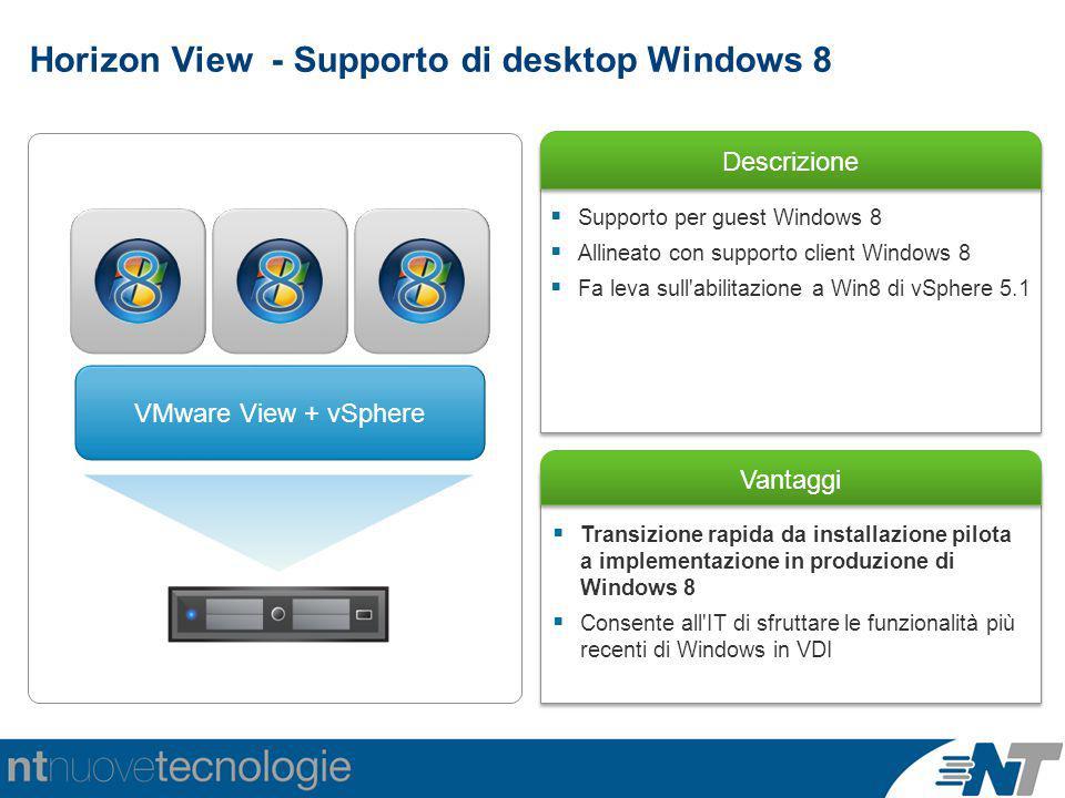 Horizon View - Supporto di desktop Windows 8 Descrizione Vantaggi  Transizione rapida da installazione pilota a implementazione in produzione di Windows 8  Consente all IT di sfruttare le funzionalità più recenti di Windows in VDI  Supporto per guest Windows 8  Allineato con supporto client Windows 8  Fa leva sull abilitazione a Win8 di vSphere 5.1 VMware View + vSphere