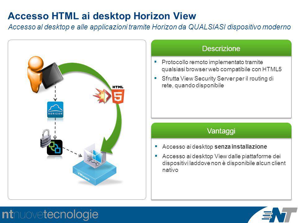 Descrizione Vantaggi  Accesso ai desktop senza installazione  Accesso ai desktop View dalle piattaforme dei dispositivi laddove non è disponibile al