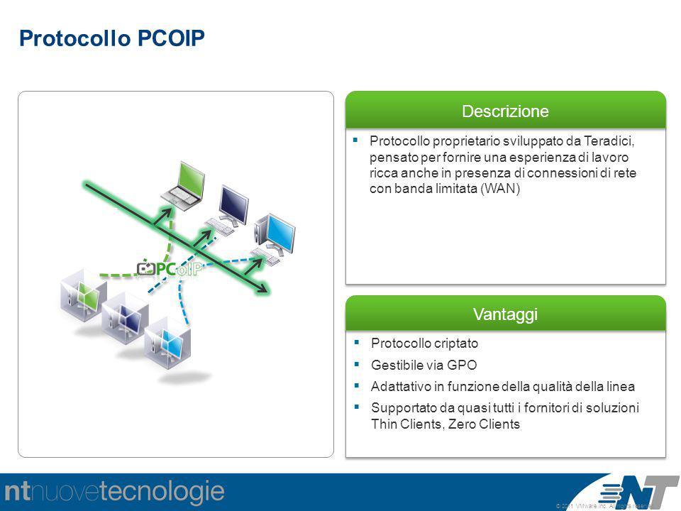© 2011 VMware Inc. All rights reserved Descrizione Vantaggi  Protocollo criptato  Gestibile via GPO  Adattativo in funzione della qualità della lin