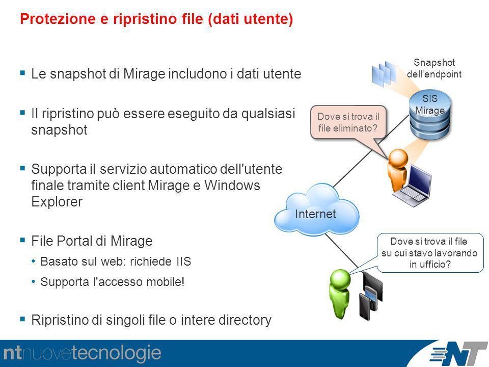 Dove si trova il file eliminato? Protezione e ripristino file (dati utente)  Le snapshot di Mirage includono i dati utente  Il ripristino può essere
