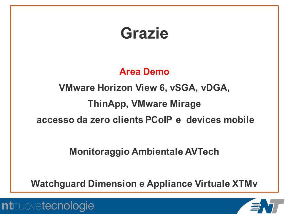 Grazie Area Demo VMware Horizon View 6, vSGA, vDGA, ThinApp, VMware Mirage accesso da zero clients PCoIP e devices mobile Monitoraggio Ambientale AVTe