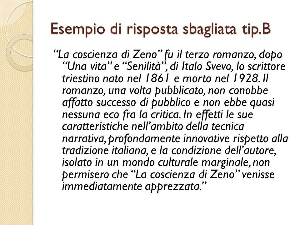 Esempio di risposta sbagliata tip.B La coscienza di Zeno fu il terzo romanzo, dopo Una vita e Senilità , di Italo Svevo, lo scrittore triestino nato nel 1861 e morto nel 1928.