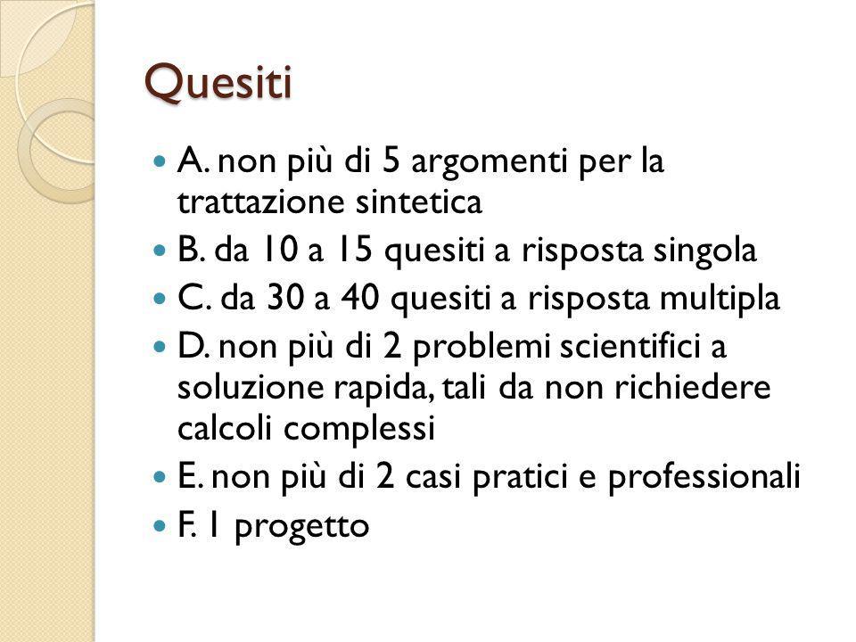 Quesiti A.non più di 5 argomenti per la trattazione sintetica B.