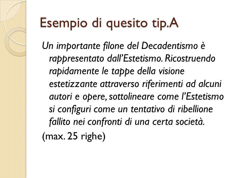 Esempio di quesito tip.A Un importante filone del Decadentismo è rappresentato dall'Estetismo.