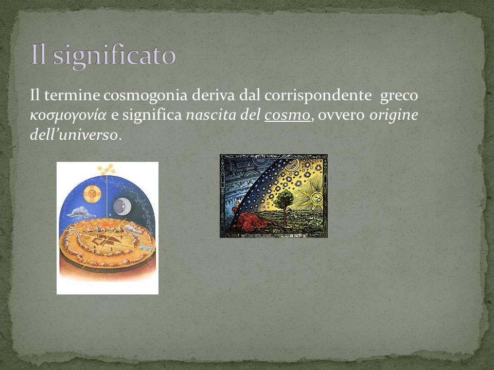 Il termine cosmogonia deriva dal corrispondente greco κοσμογονία e significa nascita del cosmo, ovvero origine dell'universo.