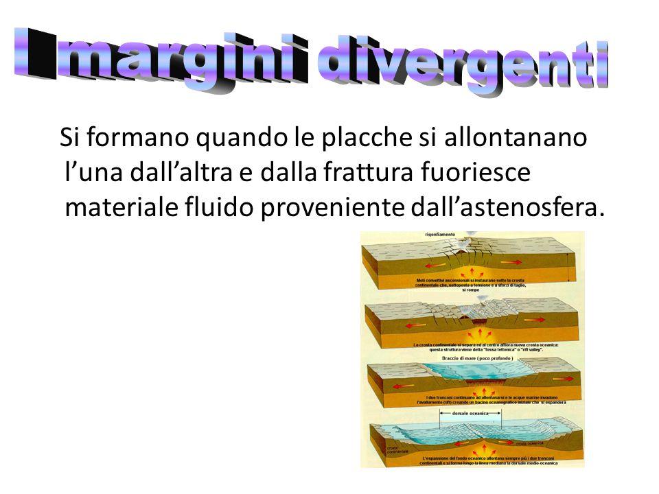 Si formano quando le placche si allontanano l'una dall'altra e dalla frattura fuoriesce materiale fluido proveniente dall'astenosfera.