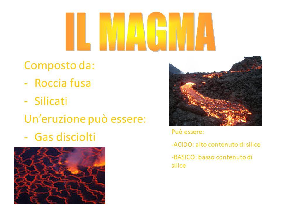 Composto da: -Roccia fusa -Silicati Un'eruzione può essere: -Gas disciolti Può essere: -ACIDO: alto contenuto di silice -BASICO: basso contenuto di si
