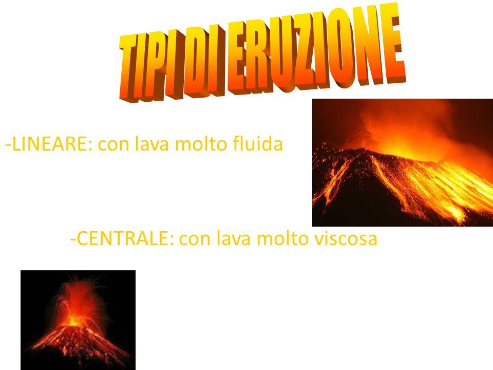 -LINEARE: con lava molto fluida -CENTRALE: con lava molto viscosa