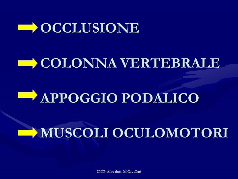 UNI3 Alba dott. M.Cavallari OCCLUSIONE COLONNA VERTEBRALE APPOGGIO PODALICO MUSCOLI OCULOMOTORI