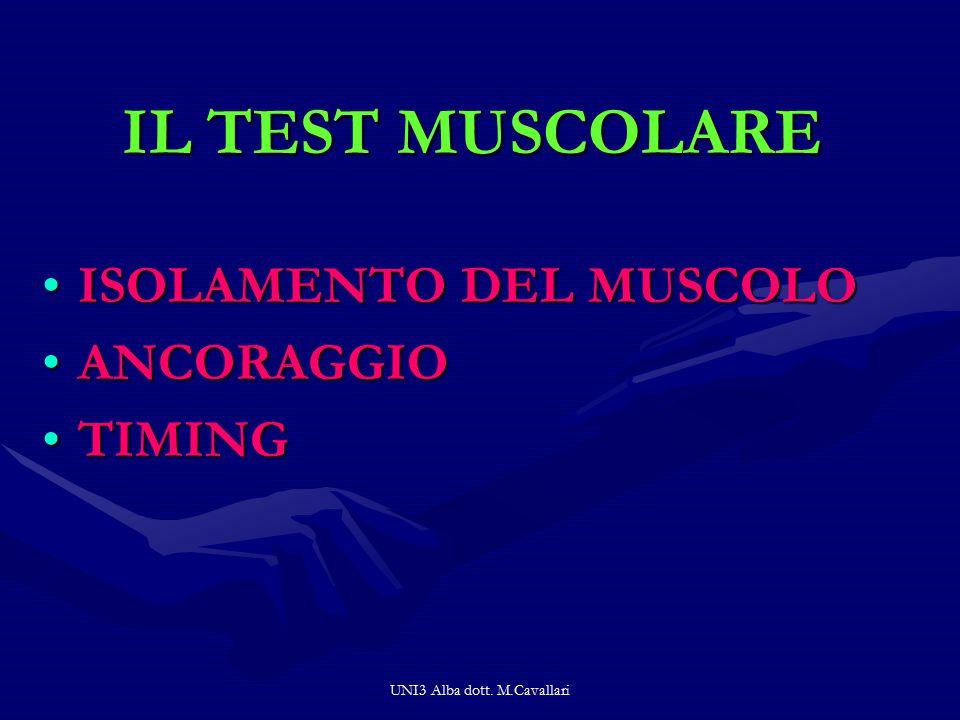 UNI3 Alba dott. M.Cavallari IL TEST MUSCOLARE ISOLAMENTO DEL MUSCOLO ANCORAGGIO TIMING