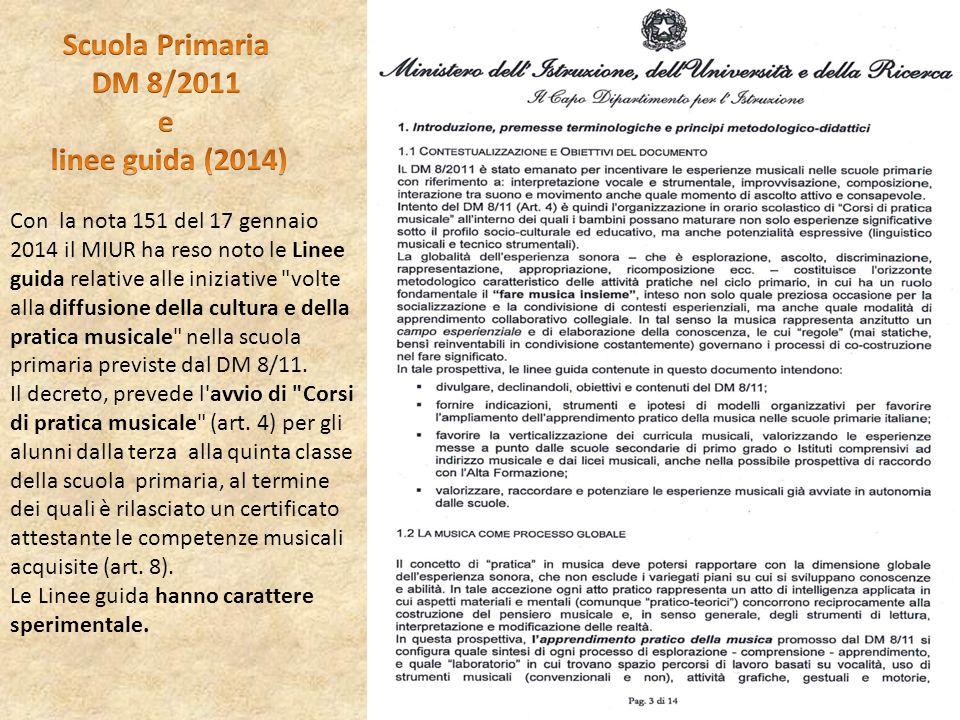 Con la nota 151 del 17 gennaio 2014 il MIUR ha reso noto le Linee guida relative alle iniziative volte alla diffusione della cultura e della pratica musicale nella scuola primaria previste dal DM 8/11.