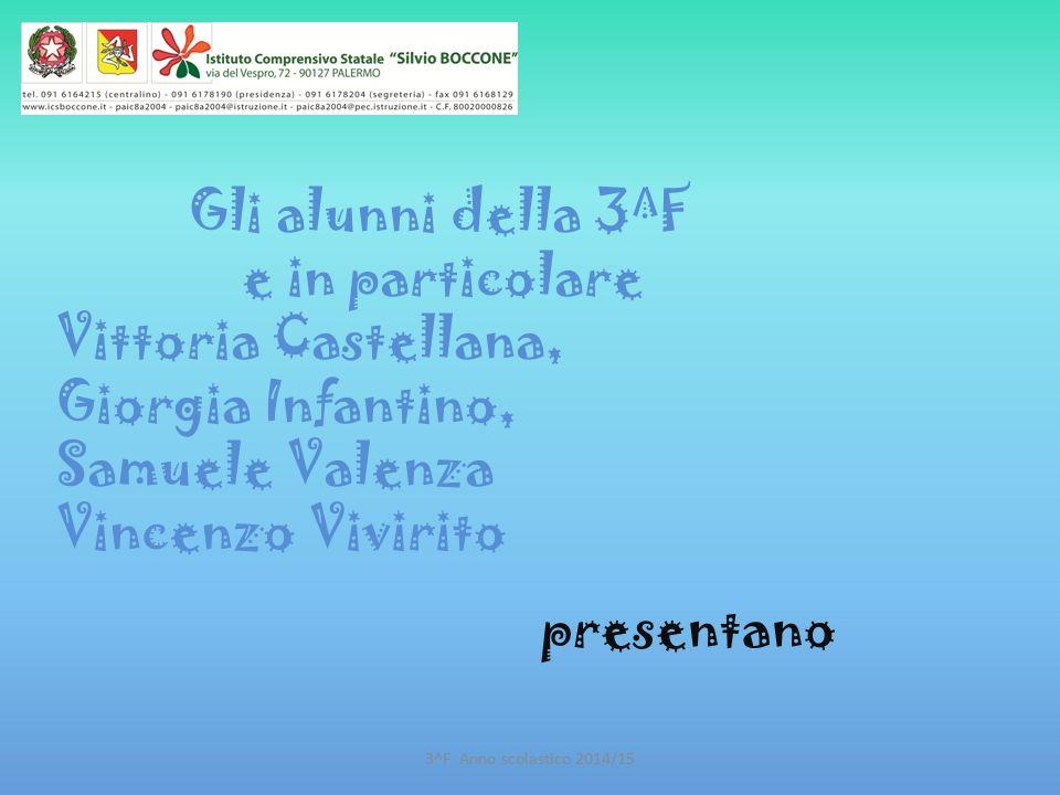 Gli alunni della 3^F e in particolare Vittoria Castellana, Giorgia Infantino, Samuele Valenza Vincenzo Vivirito presentano 3^F Anno scolastico 2014/15