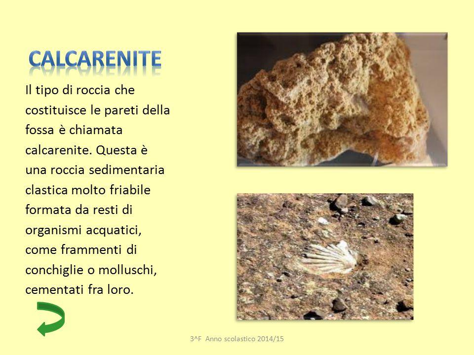 Il tipo di roccia che costituisce le pareti della fossa è chiamata calcarenite. Questa è una roccia sedimentaria clastica molto friabile formata da re
