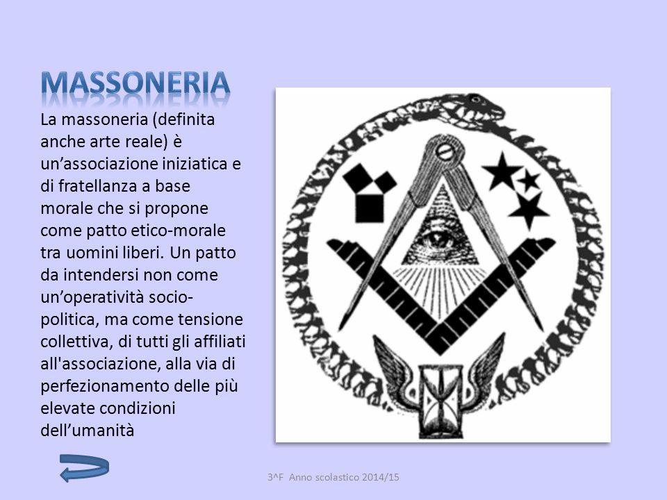 La massoneria (definita anche arte reale) è un'associazione iniziatica e di fratellanza a base morale che si propone come patto etico-morale tra uomin