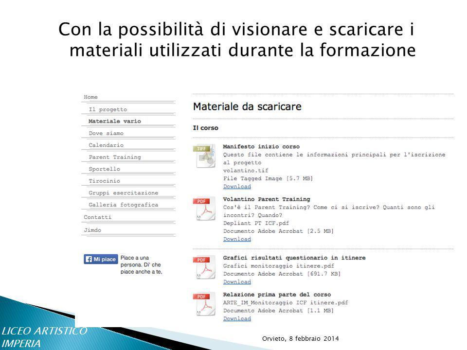 Con la possibilità di visionare e scaricare i materiali utilizzati durante la formazione LICEO ARTISTICO IMPERIA Orvieto, 8 febbraio 2014