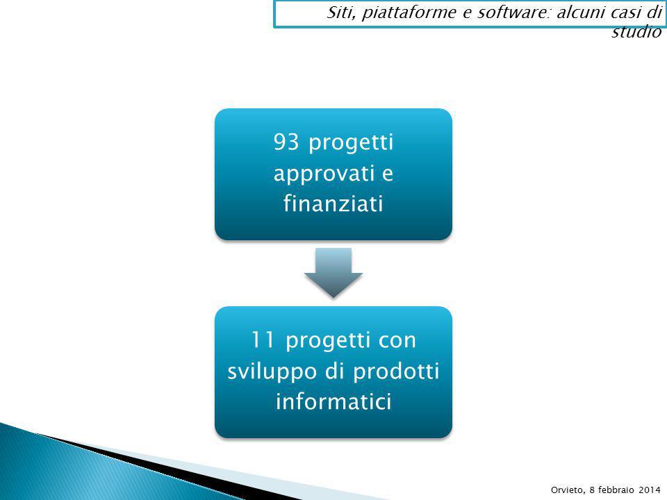 93 progetti approvati e finanziati 11 progetti con sviluppo di prodotti informatici Orvieto, 8 febbraio 2014 Siti, piattaforme e software: alcuni casi di studio