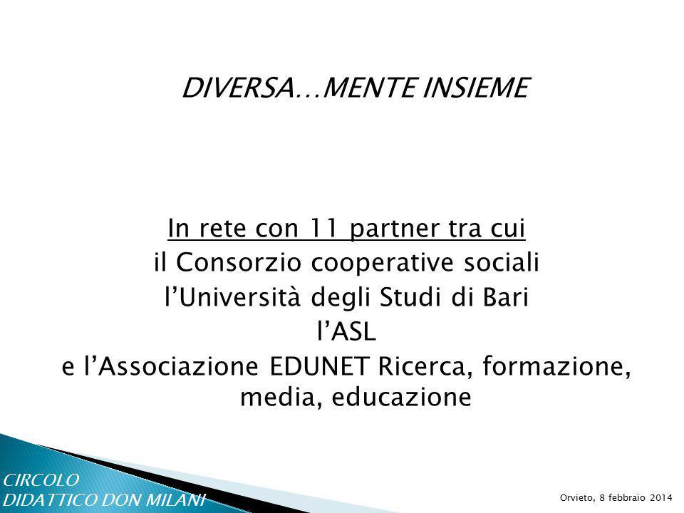 DIVERSA…MENTE INSIEME Orvieto, 8 febbraio 2014 In rete con 11 partner tra cui il Consorzio cooperative sociali l'Università degli Studi di Bari l'ASL e l'Associazione EDUNET Ricerca, formazione, media, educazione CIRCOLO DIDATTICO DON MILANI